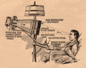 This is how folks thought they'd be reading in the future, according to a 1930s Popular Mechanics article.