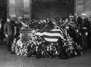 Pictured is Harding's casket at his funeral. A bad heart did him in while he was on a campaign trip through the West. He died in San Francisco.