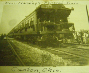 Harding's funeral train moves through Canton, Ohio. Seeing the train must have reminded some old-timers of Lincoln's train.