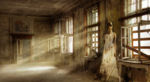 She stood along the back wall, her dress shimmering in the dust, her face transparent.  She looked shocked that I would be in her bedroom.