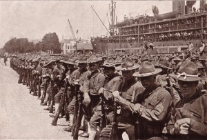 American doughboys arrive in France in 1917 to begin training prior to going up to the trenches.