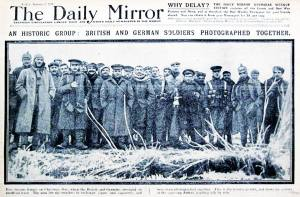 Newspapers of the time featured the Christmas Day truce on their front pages. Here British and German officers stand together for a portrait.