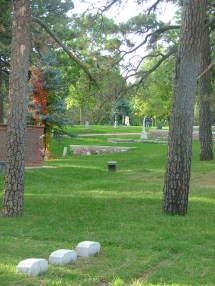 View of headstones in Evergreen Cemetery