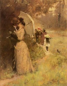 A parasol provides some privacy for lovers eager to let lips meet lips.