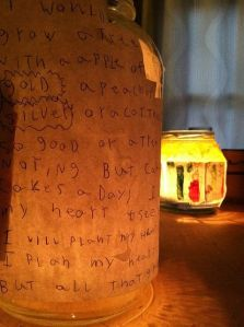 I've always believed that novels and short stories are meant to illuminate the human condition. Here's an excellent way to illuminate a story... glue it to a glass with a lit candle inside the glass.