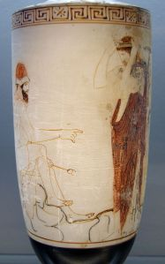 In this ancient pottery ware, the god Hermes is ready to escort a soul to the Underworld.