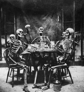 Most of the ancient sources say the dead have bodies in the Underworld. A few, though, go for skeletons. These bone guys seem to be enjoying the hereafter.