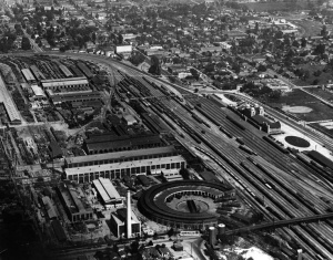 This photo captures the size of the San Bernardino rail yard during its heyday.