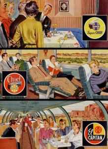 Magazine ads like this one do a good job of capturing the passenger train era of private train companies toward the end of the glory years. Soon it'd be Amtrak.