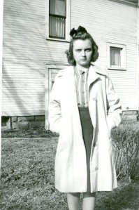 I love this photo of my mom during her high school years. She loved visiting her Aunt Pauline and Uncle Kenny Kurtz.