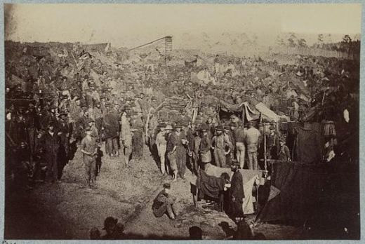 Issuing rations at Andersonville